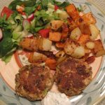 Zucchini Cakes and Rosemary Roasted Yams and Potatoes