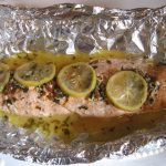 A BEAUTIFUL SALMON DINNER WITH A SUMMER VEGETABLE SIDE DISH