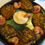CHILI BASIL ZUCCHINI CAKES WITH FRESH SHRIMP AND DIPPING SAUCE