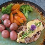 GRILLED TERIYAKI CHICKEN WITH CRAB AND BERNAISE CHIVE SAUCE